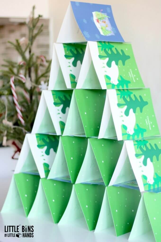Christmas card tree building activity for kids