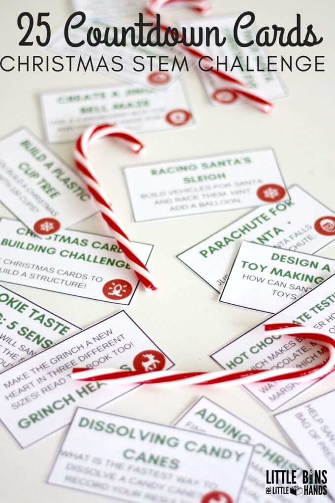 Printable Christmas STEM Challenge Cards for Christmas Countdown Calendar