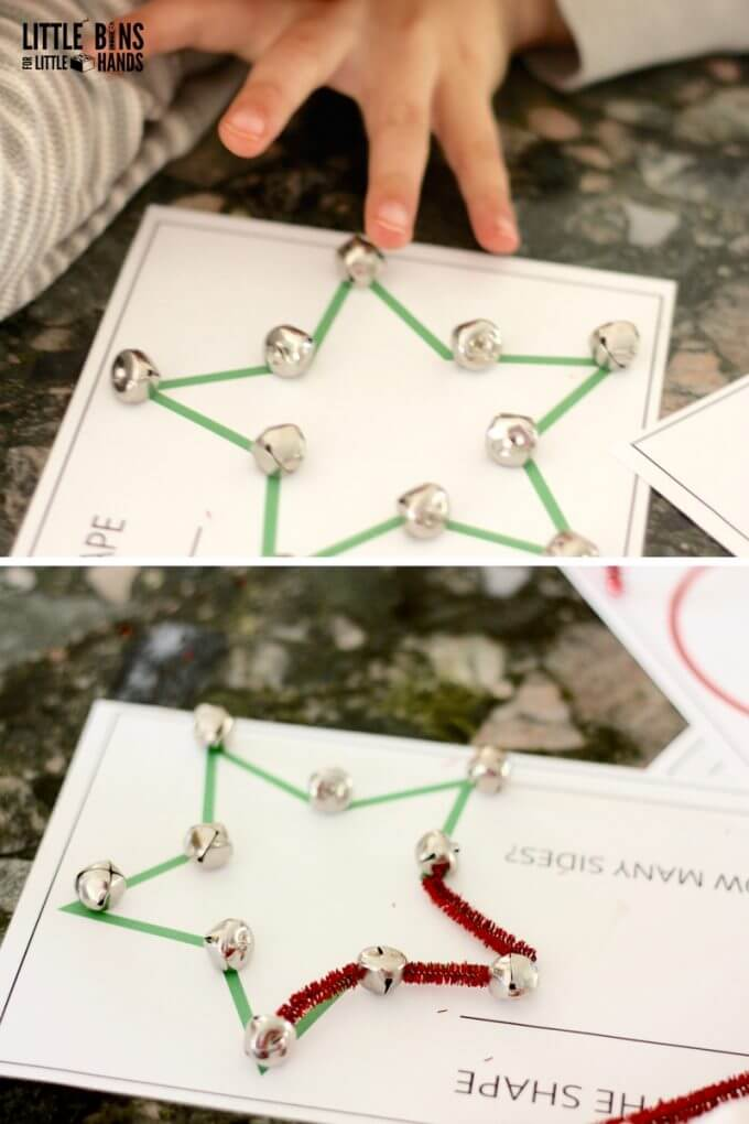 Building and Estimating Shapes Math Activity for Christmas STEM