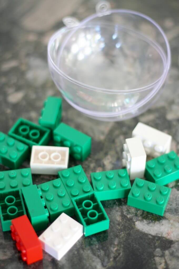 LEGO Christmas Math Estimation Activity with bricks