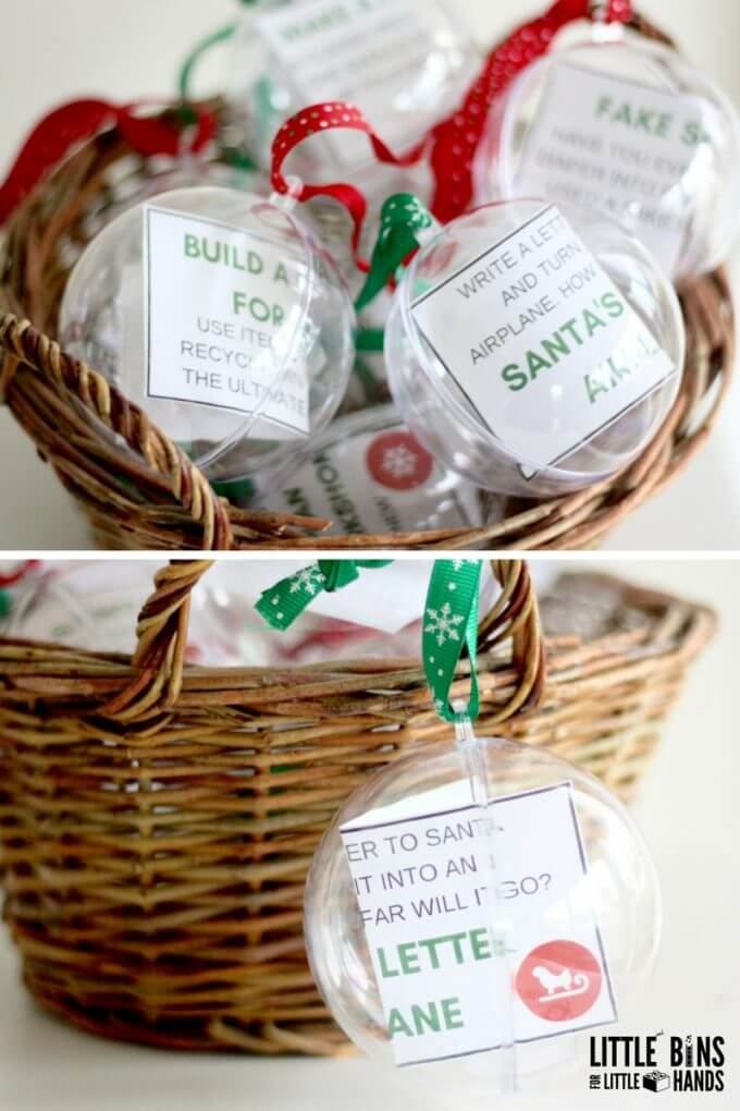 Basket of Christmas STEM Challenge cards in ornaments