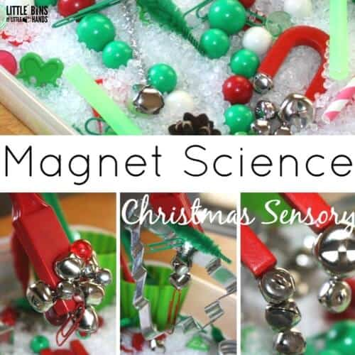 christmas magnet science and sensory bin for kids experiments