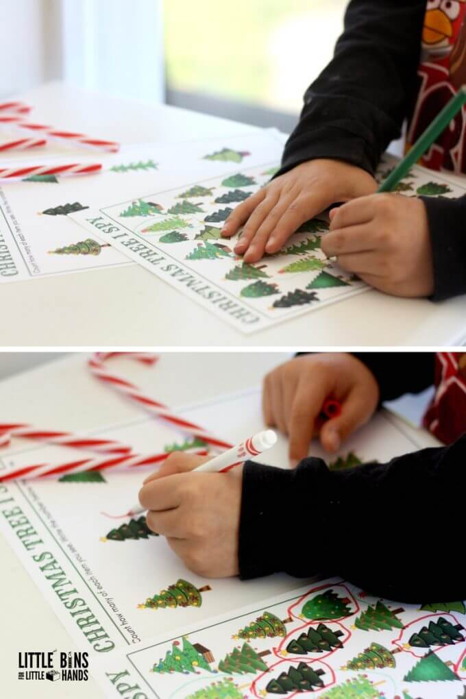 christmas tree counting activity printable pages