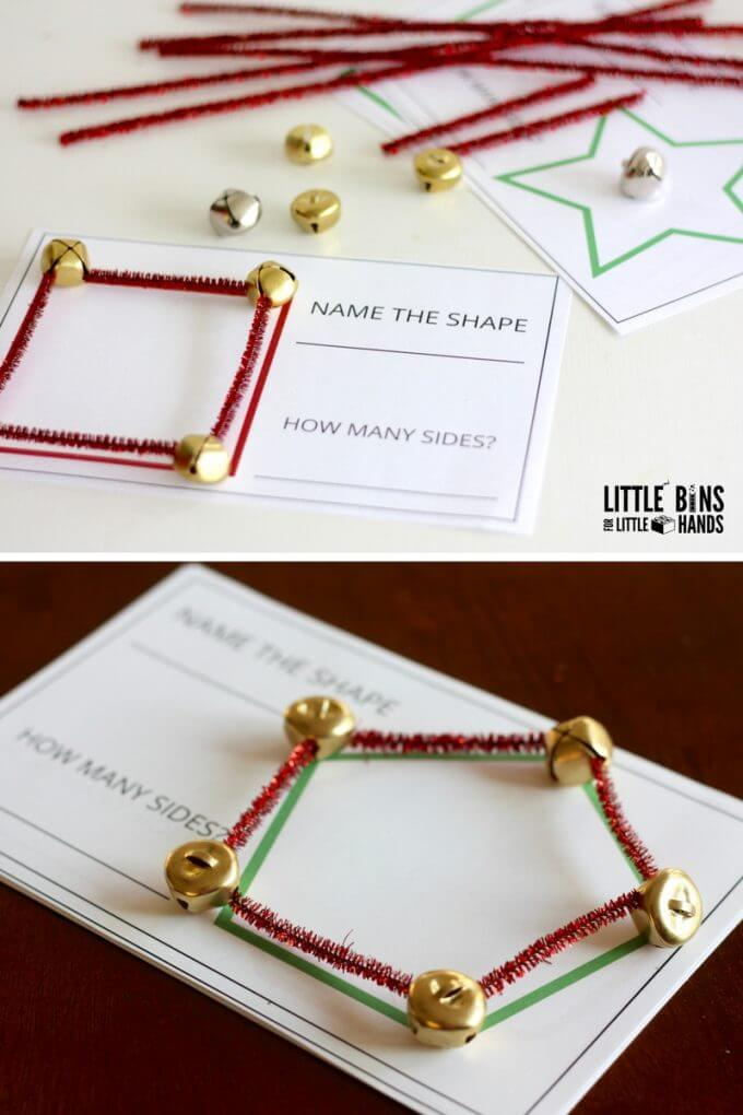 Christmas shapes math activity with free printable STEM cards