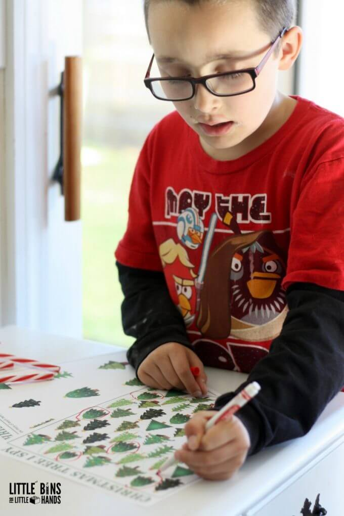 counting christmas trees activity printable
