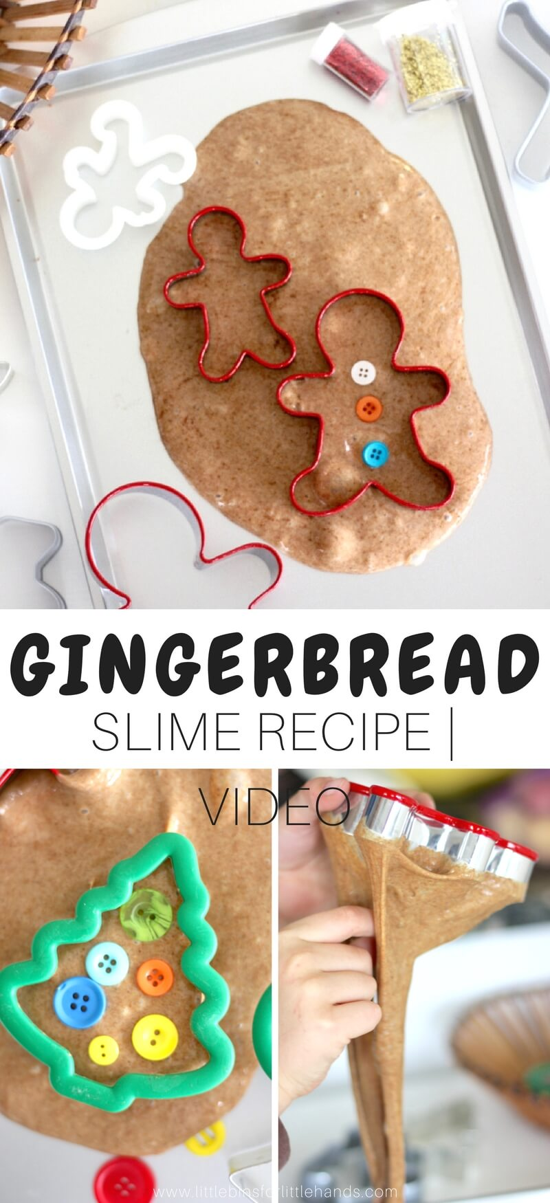 Are we baking cookies or making slime! Whether you love baking gingerbread man cookies, are planning a gingerbread theme lesson, or just love anything scented, our newest gingerbread slime is the answer. Our holidays slimes are really popular, and this year I challenged us to come up with a gingerbread man series. Enjoy the scented science and sensory play that is so easy to make with our homemade slime recipes.