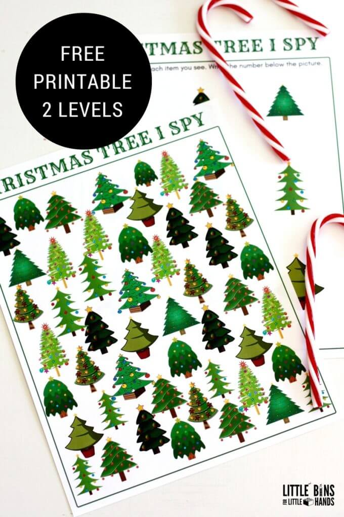 I Spy Christmas tree counting activity search and find free printable