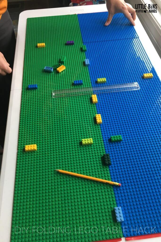 Awesome DIY folding LEGO table hack is perfect for home, school, community groups, church, and libraries!