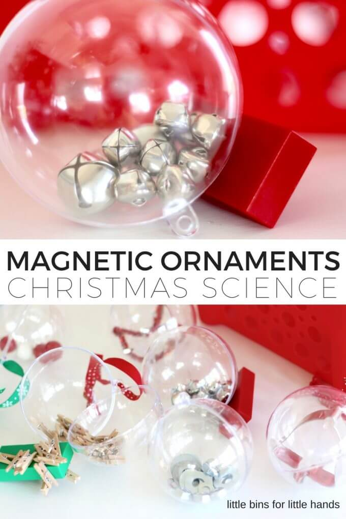 Magnetic ornaments Christmas science activity for kids STEM. Fun Christmas magnet science idea for kids that is easy to set up.