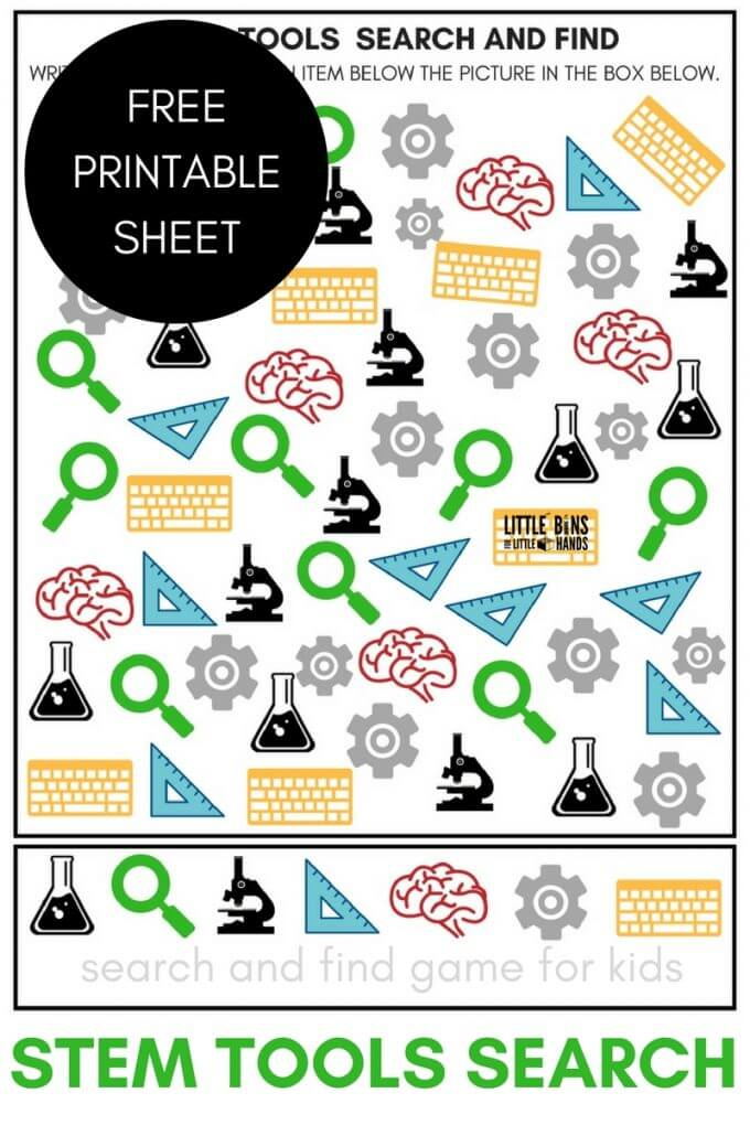 FREE printable STEM Tools search and find counting activity like I Spy