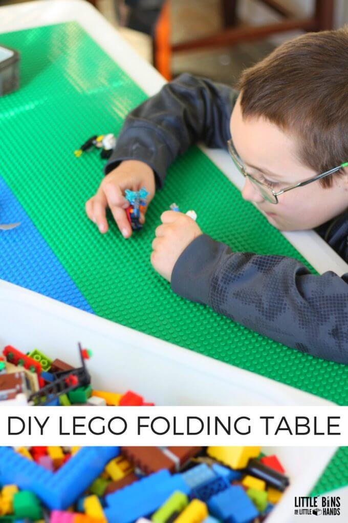 Playing on the new folding LEGO table homemade project
