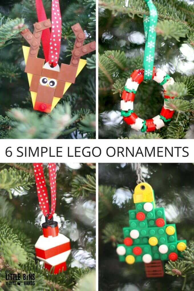 Make LEGO Ornaments for a Homemade Christmas Count down activity with kids
