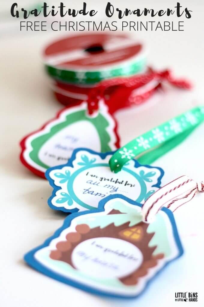 Free Christmas printable for gratitude ornaments kids can make