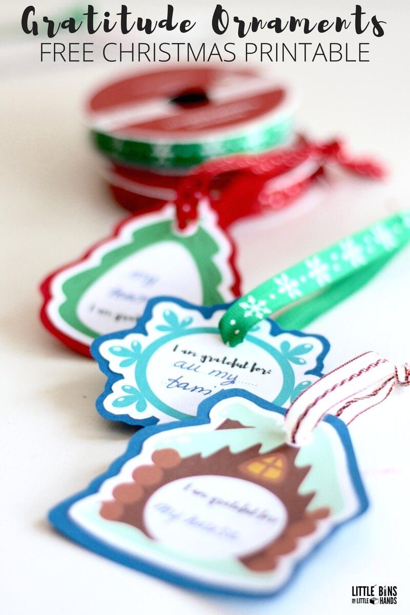 Printable Gratitude Ornaments for Kids Christmas Activity