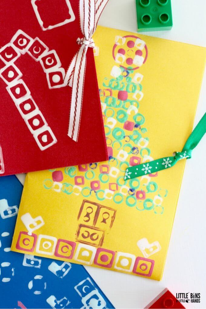 Homemade LEGO Christmas Cards Craft with LEGO Stamping