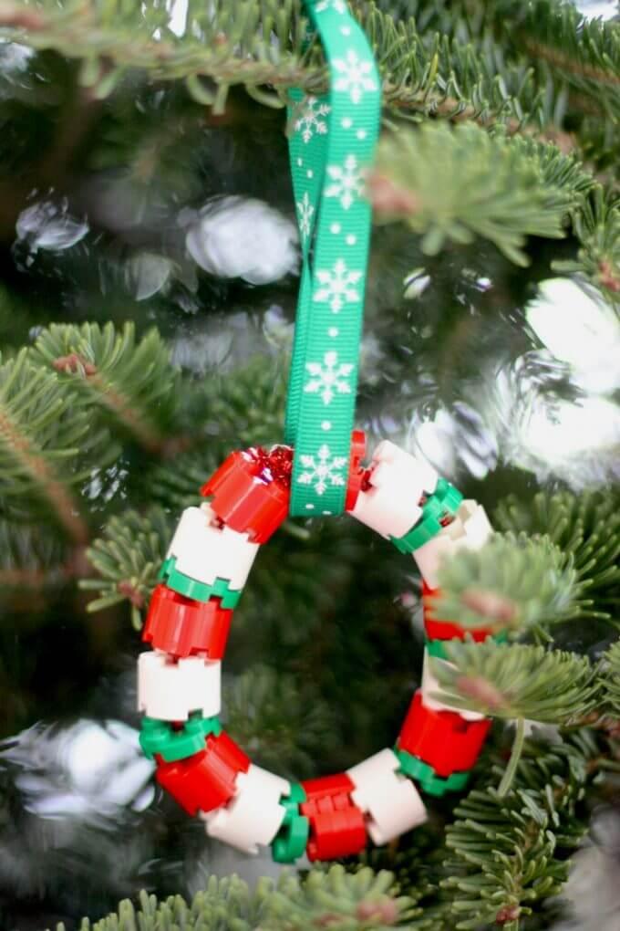 Male LEGO Wreathe Christmas Ornament Patterning Activity