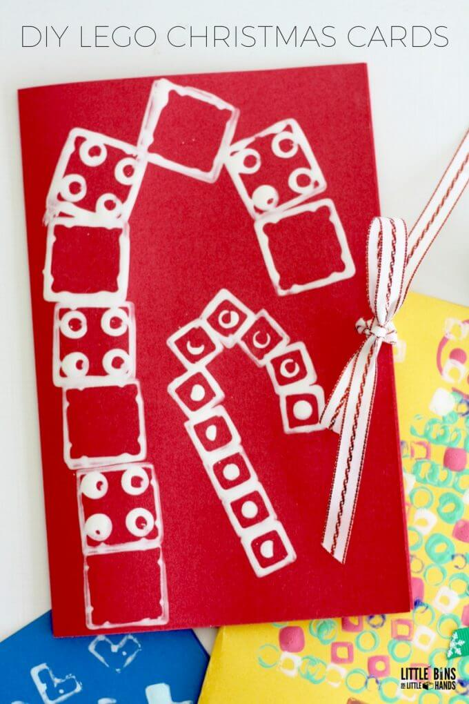 LEGO Stamped Christmas Cards Craft Activity for Kids