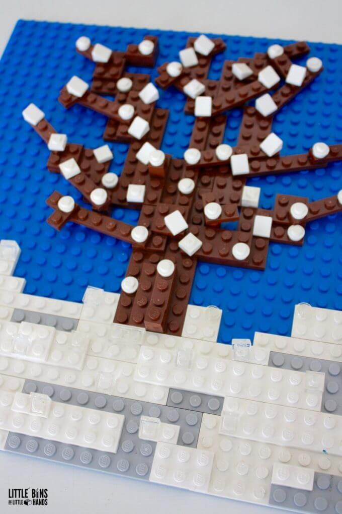 LEGO winter tree mosaic and seasons activity for kids
