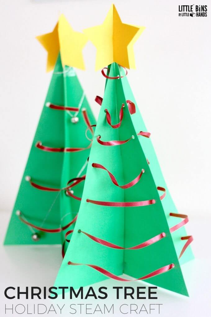 3d christmas tree steam craft activity geometry - Christmas Tree Decorations For Kids