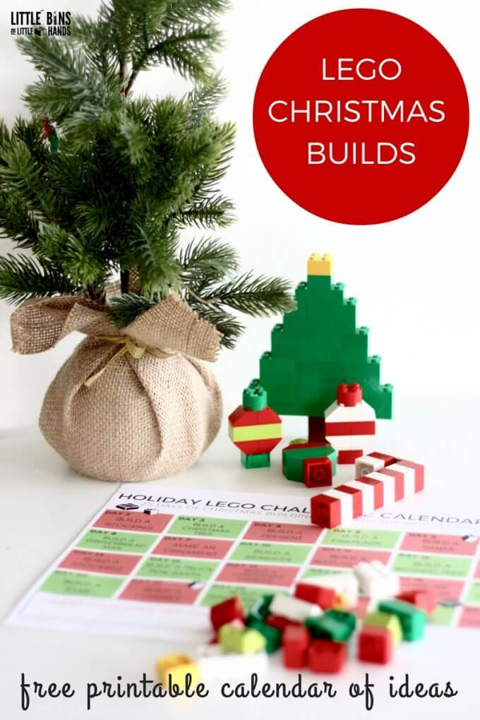 Check out our free printable LEGO Christmas building ideas calendar for your Christmas countdown! A fun list of Christmas themed STEM challenges for kids! #STEM #science #lego