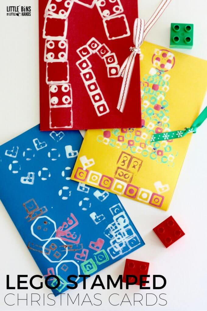 Handmade LEGO Stamped Cards for Christmas Crafting Activities