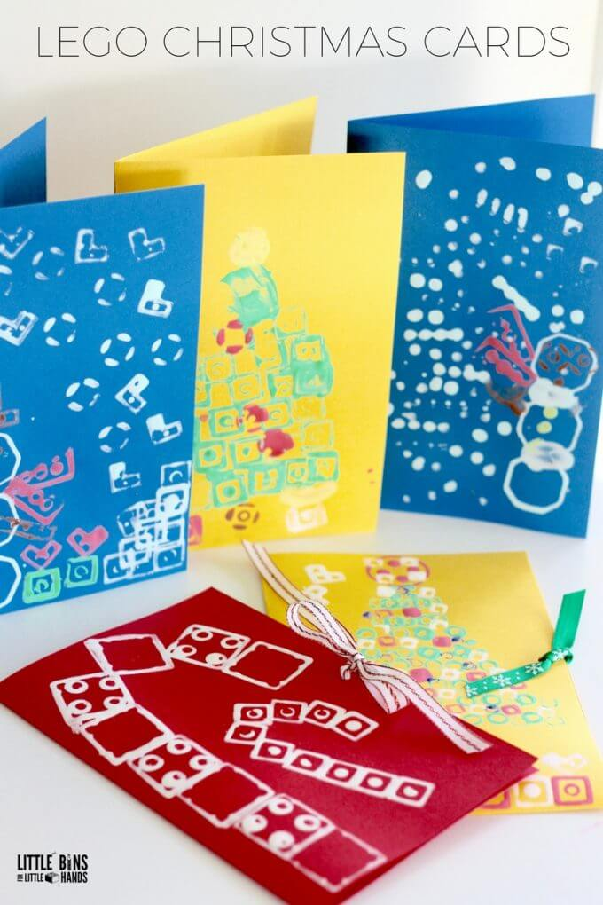 Make LEGO Stamped Christmas Cards with Kids for a Homemade Christmas Activity