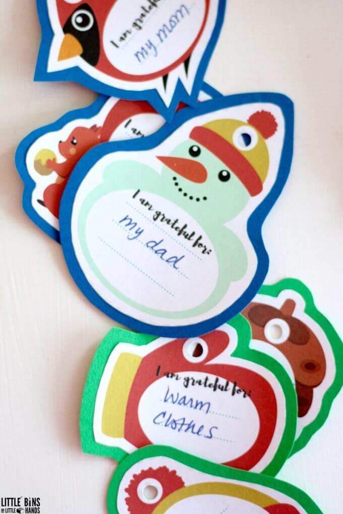 Printable gratitude ornaments for a family Christmas activity craft