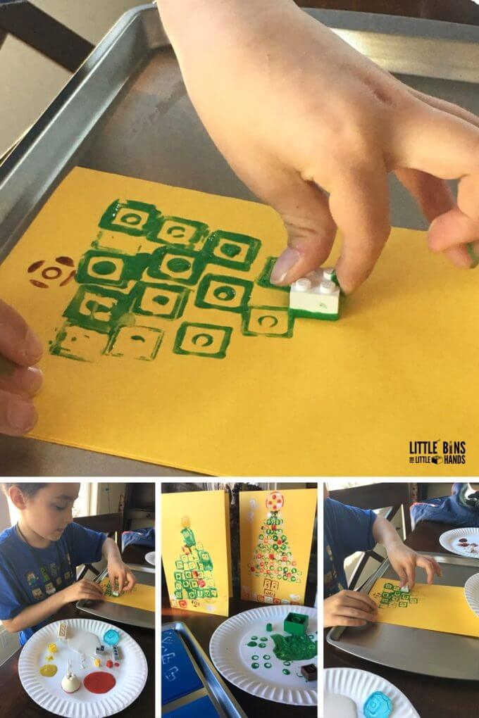 Stamping Homemade LEGO Christmas Cards for Kids To Make and Send