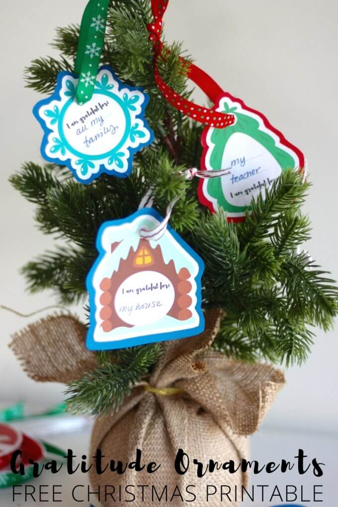 Printable gratitude ornaments for kids Christmas ornament making craft activity.
