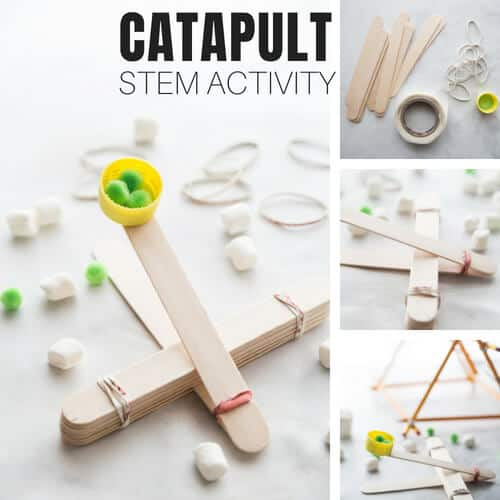 DIY popsicle stick catapult Inexpensive STEM activity