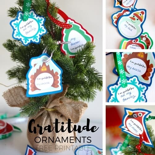 Free Printable Christmas Gratitude Ornaments for Kids and Families