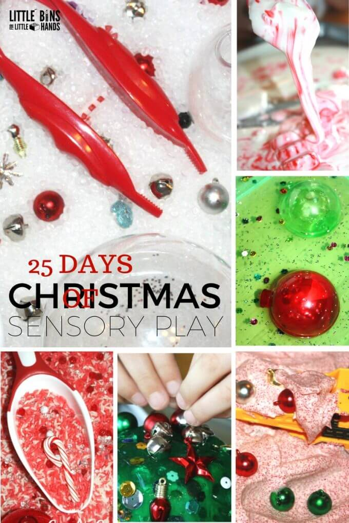 Christmas sensory play activities and science sensory play ideas for 25 days of Christmas countdown. Perfect Christmas activities for toddlers, preschool, kindergarten, and early elementary. Play and learn this Christmas!