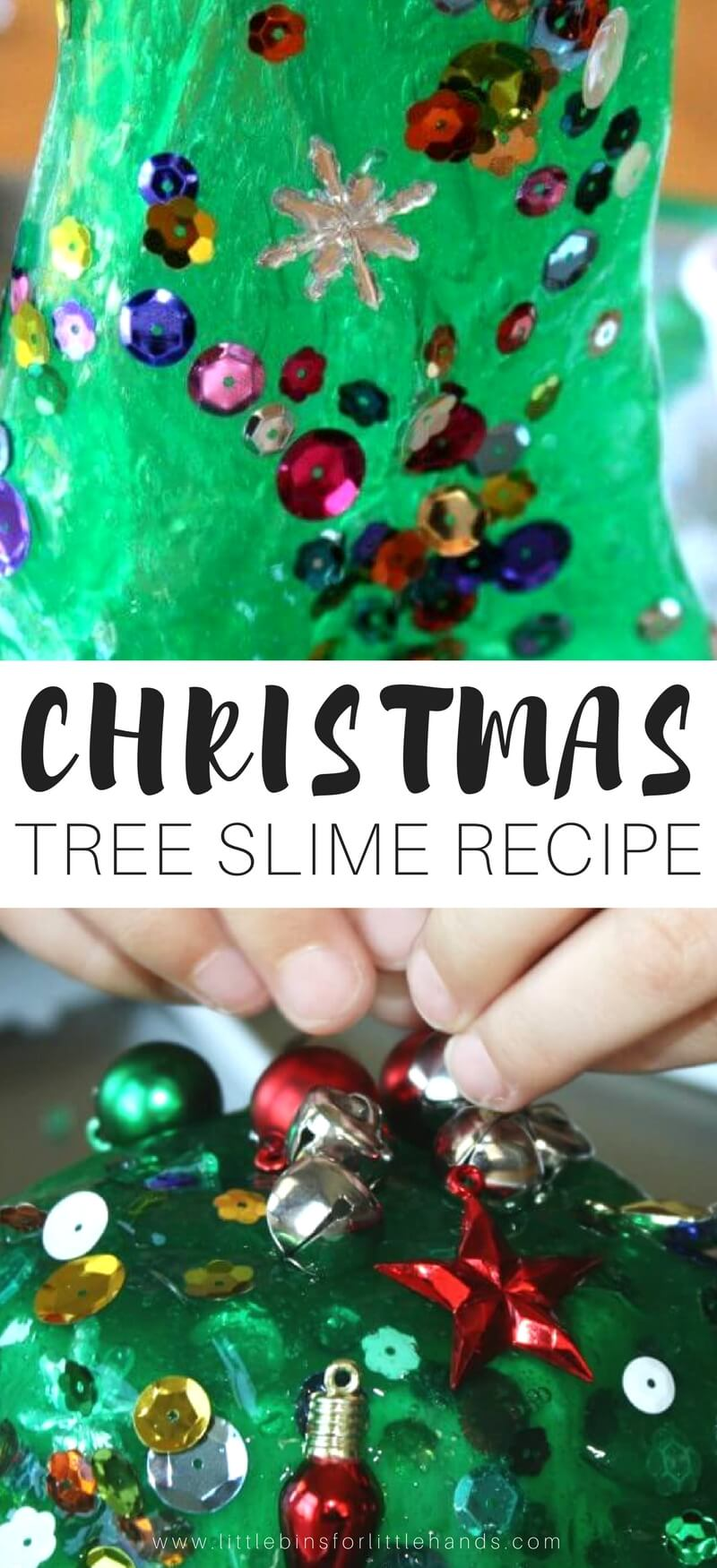 Our Christmas tree homemade slime recipe is a great kids science experiment! Homemade slime is super easy to make with kids and is a great STEM activity! #STEM #slime #science