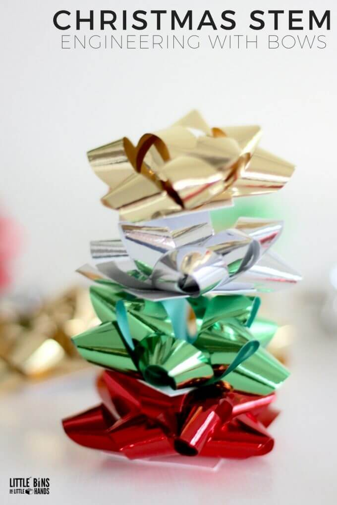 Christmas STEM Bow Stacking Engineering Activity Using Your Holiday Supplies