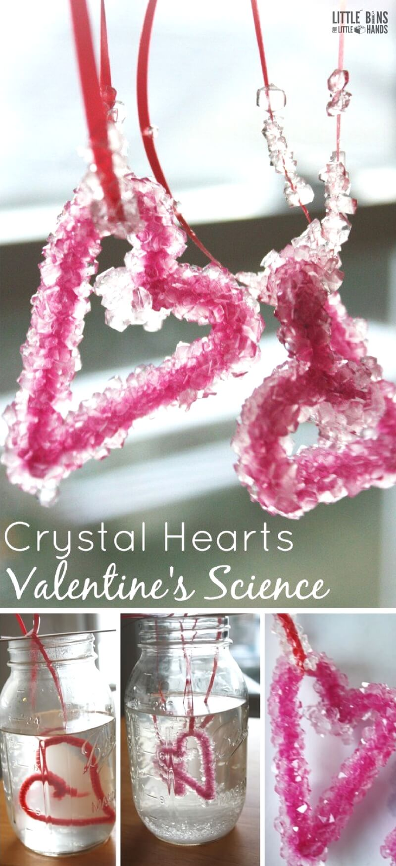Growing crystals is actually pretty easy to do at home and makes a great science experiment for kids. These Crystal hearts are perfect for a Valentine's Day themed science activity. Have fun with science and create themes for the holidays. My son loves holiday themed science activities, and I think it really helps his love of science to come out!