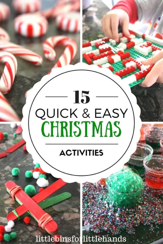 Easy Christmas Activities, Christmas STEM, Christmas Science, and Christmas Sensory ideas for Kids.  Great last minute Christmas projects for kids including crafts, ornaments, experiments, and sensory play ideas using supplies you already have at home.