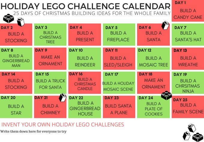 Christmas Challenge.Lego Christmas Building Ideas Calendar Countdown For Kids