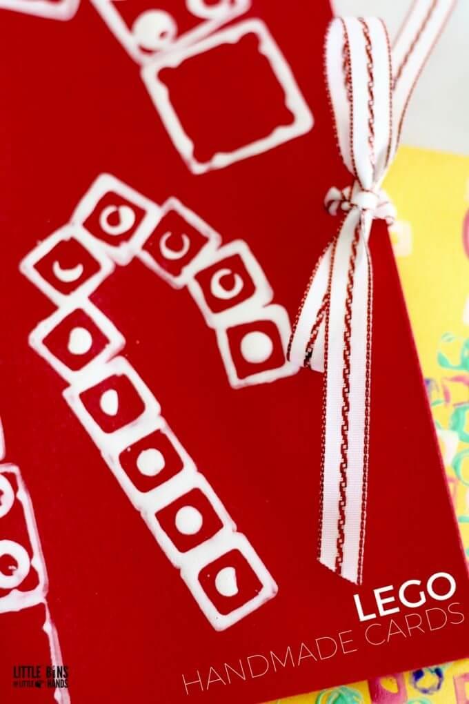 Handmade LEGO Candy Cane Christmas Card