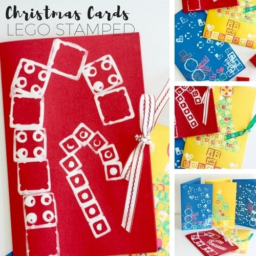LEGO stamped christmas cards all kids can make