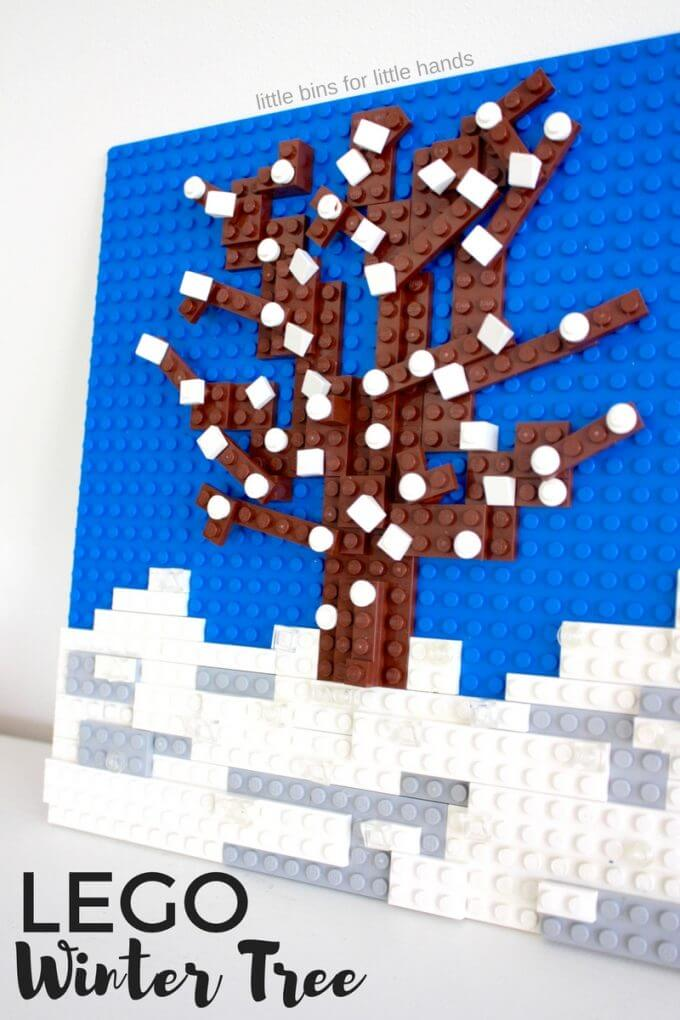 LEGO seasons winter tree building activity fro kids with a LEGO mosaic idea