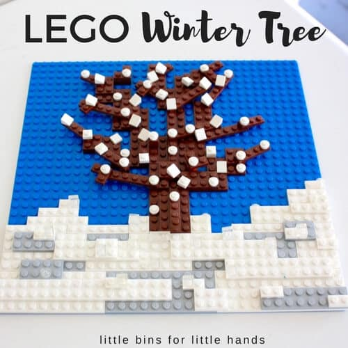 LEGO seasons winter tree building and STEM activity fro kids