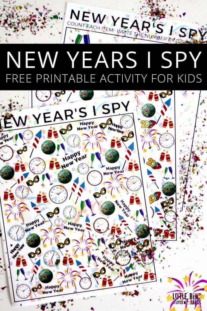 New Years I Spy Party Activity Free printable for Kids New Years Activity