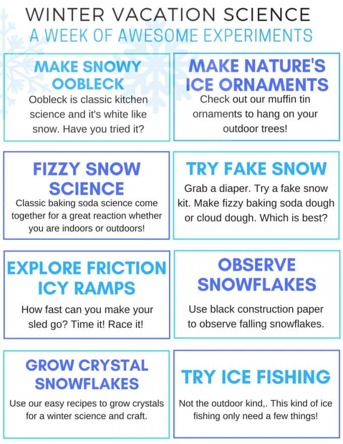 Printable winter STEM challenge cards for winter science