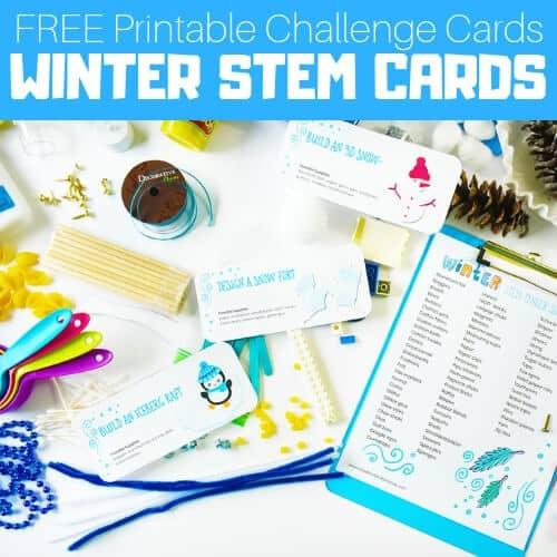 Winter STEM Challenge cards for kids
