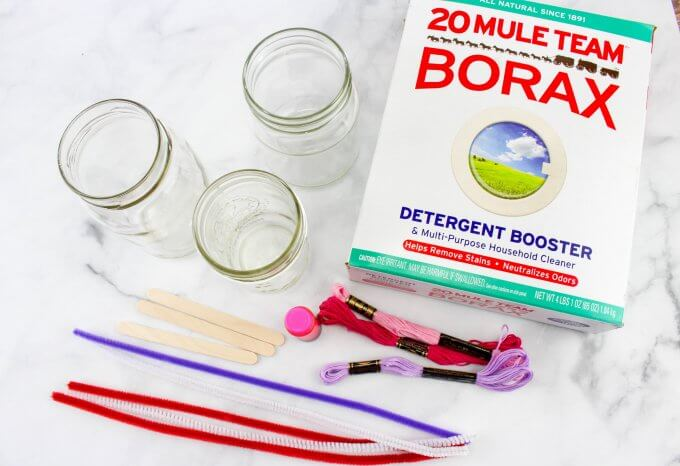 supplies for making borax crystal hearts