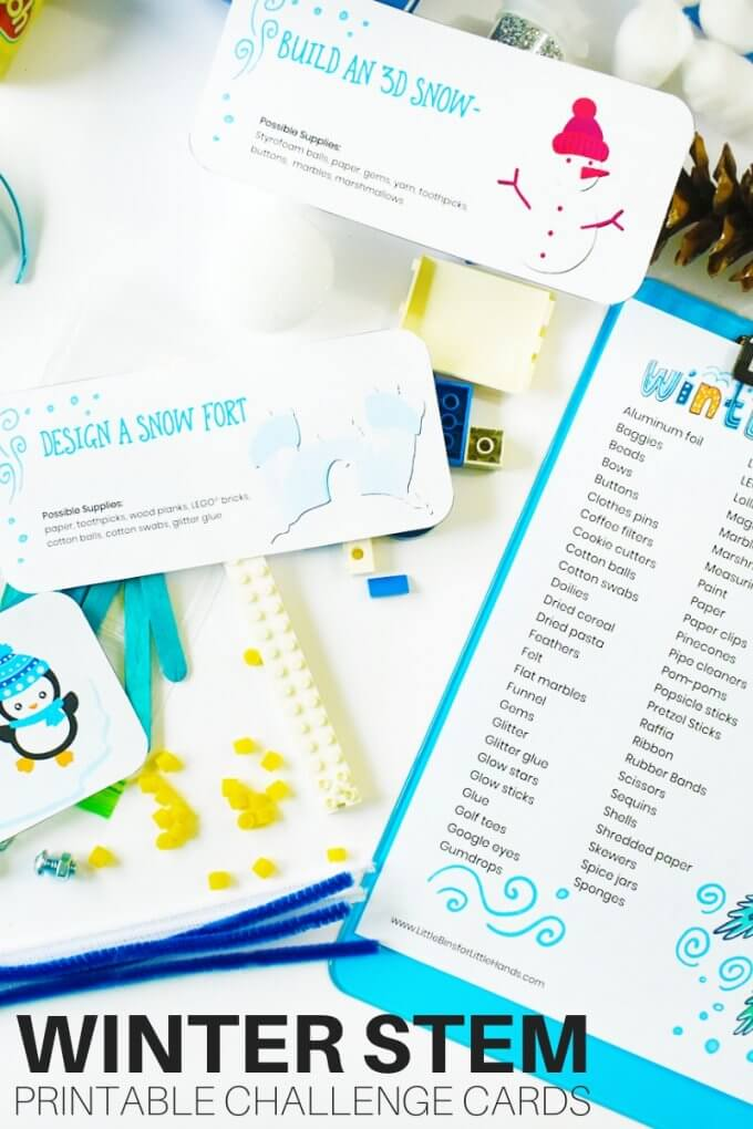 Winter STEM activities and challenge cards for kids quick STEM projects.