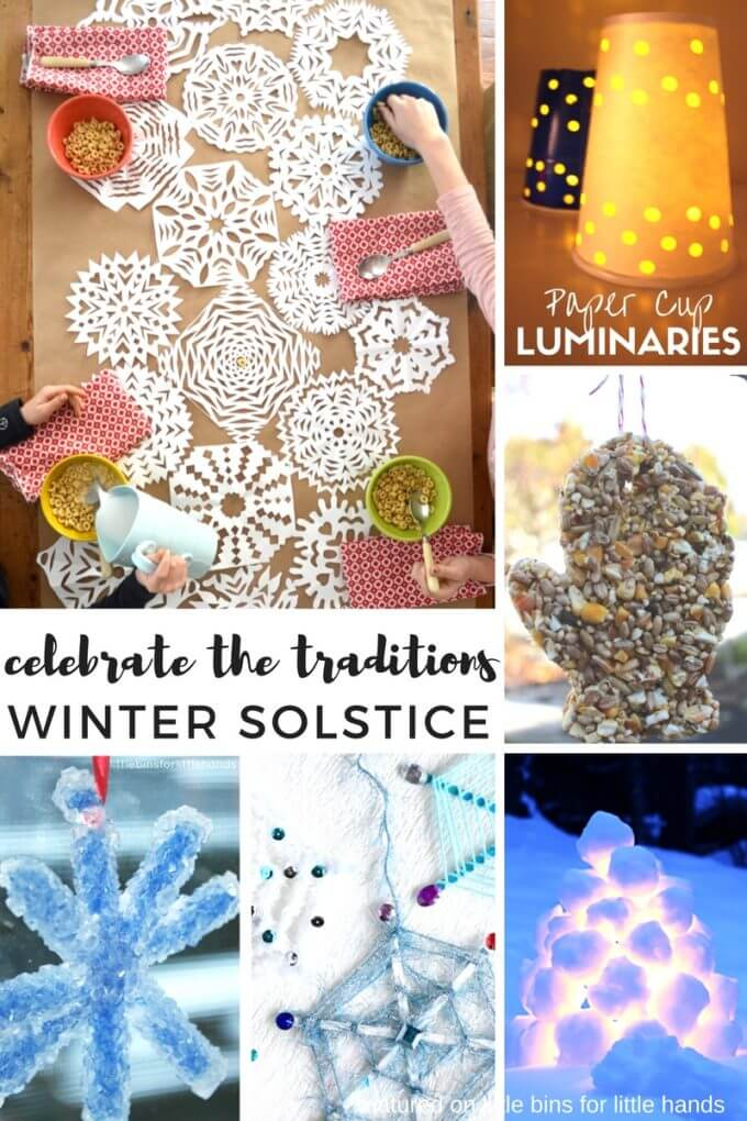 Beautiful and simple winter solstice activities for kids including snowflakes, luminaries, and outdoor decorations and treats for animals