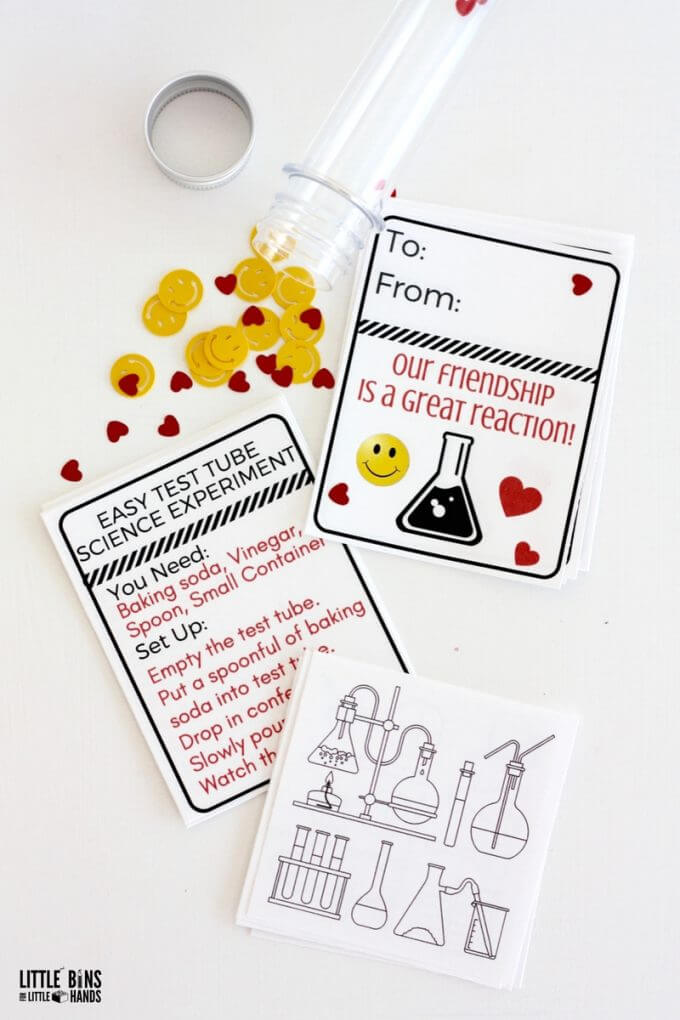 Science Valentine Cards In A Test Tube Free Printable For Kids