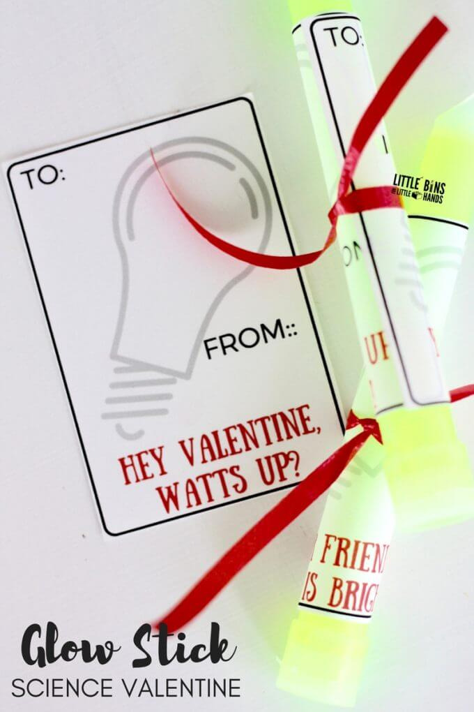 Printable Glow Stick Science Cards for Valentine's Day