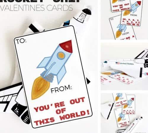Printable Rocket Ship Valentines Cards for Kids